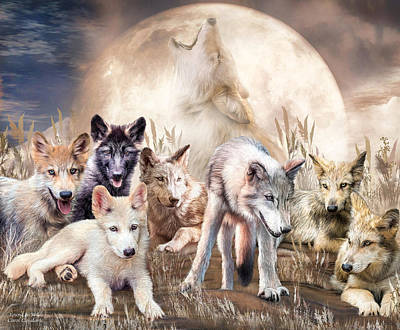 Wolves - Young And Wild Poster by Carol Cavalaris