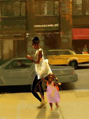 Woman And Child Walking Down City Poster