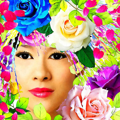 Woman And Roses Poster