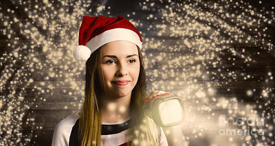 Woman At Christmas Light House Tour Poster