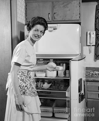 Woman At Refrigerator, C.1950s Poster