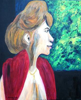 Poster featuring the painting Woman At The Window by Esther Newman-Cohen
