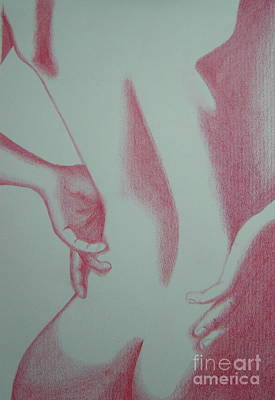 Poster featuring the drawing Woman Back Red by Fanny Diaz