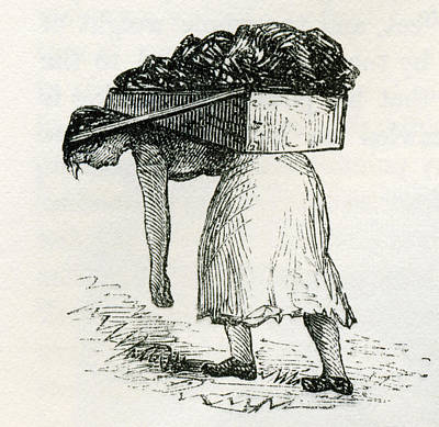 Woman Carrying Coal To Surface In East Poster