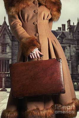 Woman Carrying Suitcase Poster by Amanda Elwell