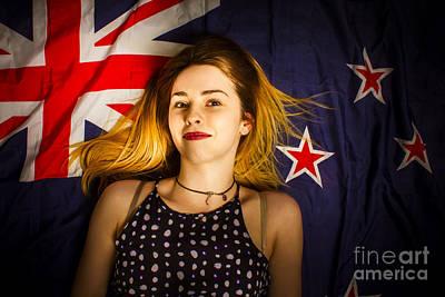 Woman Celebrating Australia Day On Australian Flag Poster by Jorgo Photography - Wall Art Gallery