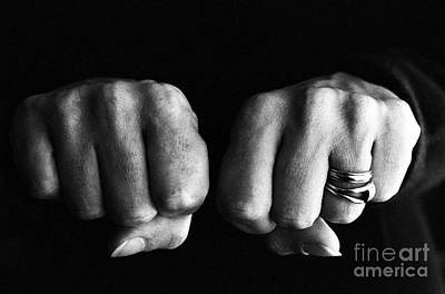 Woman Clenching Two Hands Into Fists In A Fit Of Aggression Poster by Sami Sarkis