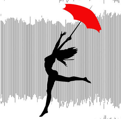 Woman Dancing In The Rain With Red Umbrella Poster