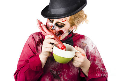 Woman Eating Bloody Hand Poster