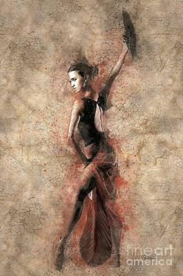 Woman Flamenco Dancer Poster by Shirley Stalter
