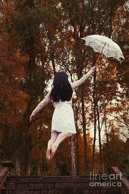 Woman Floating Away With Parasol Poster by Amanda Elwell