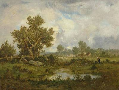 Woman Gathering Brushwood Near A Pond Poster by Leon