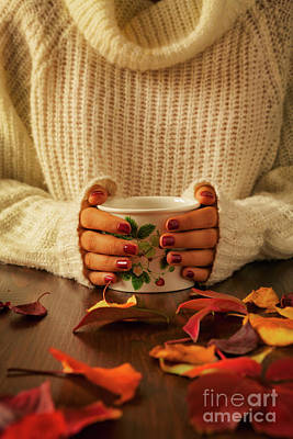 Woman Hands Holding Teacup And Autumnal Foliage Poster by Luigi Morbidelli