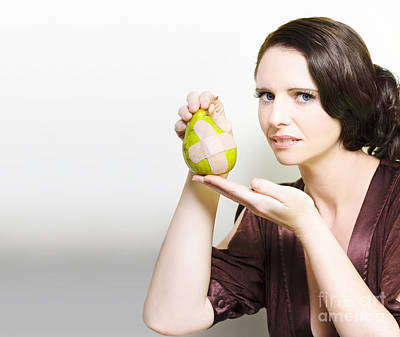 Woman Holding Bruised Fruit Poster