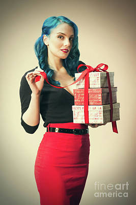 Woman Holding Christmas Presents Poster