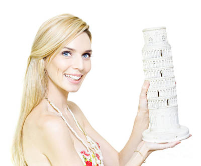 Woman Holding The Leaning Tower Of Pisa Poster