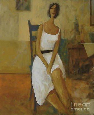 Poster featuring the painting Woman In Blue Chair by Glenn Quist