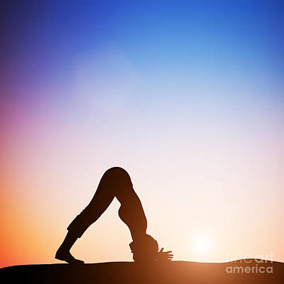 Woman In Dolphin Yoga Pose Meditating At Sunset Poster by Michal Bednarek