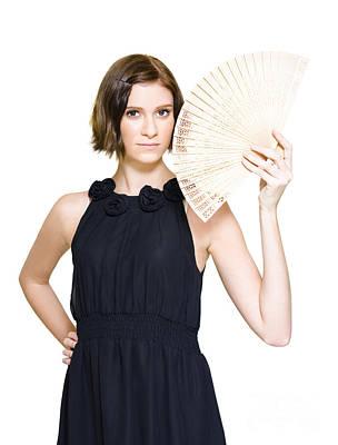 Woman In Formal Dress Holding Oriental Fan Poster by Jorgo Photography - Wall Art Gallery