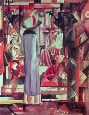 Woman In Front Of A Large Illuminated Window Poster by August Macke