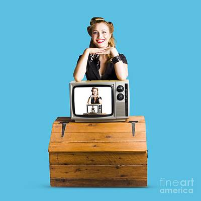 Woman  In Front Of Tv Camera Poster by Jorgo Photography - Wall Art Gallery