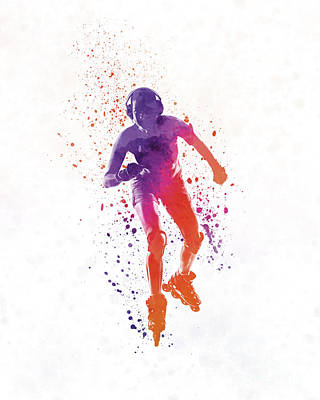 Woman In Roller Skates 01 In Watercolor Poster