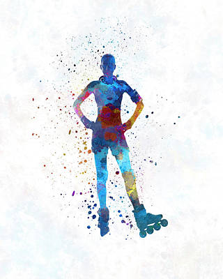 Woman In Roller Skates 02 In Watercolor Poster