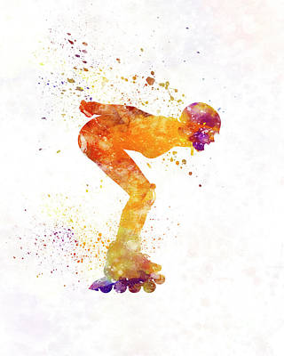 Woman In Roller Skates 09 In Watercolor Poster