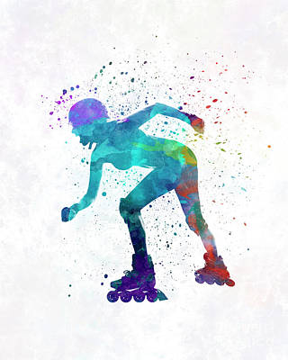 Woman In Roller Skates 10 In Watercolor Poster