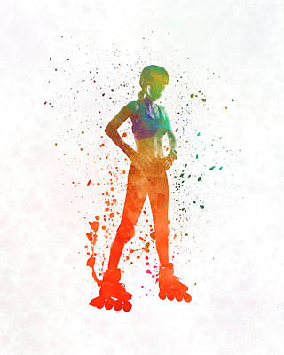 Woman In Roller Skates 11 In Watercolor Poster