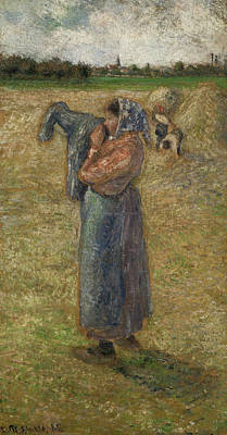 Woman In The Fields, Campesina Poster by Camille Pissarro
