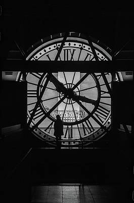 Woman In The Musee D'orsay Clock Tower Poster
