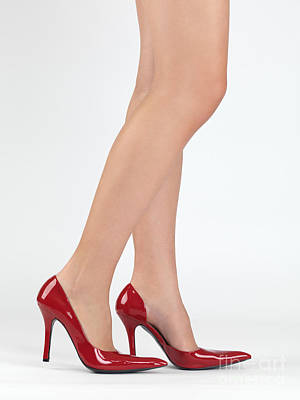 Woman Legs In High Heel Shoes Poster
