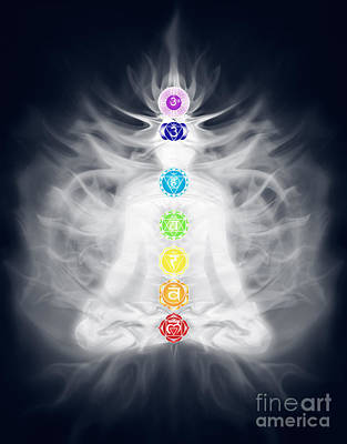 Woman Meditating In Lotus Pose Silhouette With Chakras And Energ Poster