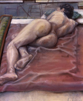 Woman On Blanket Poster by John Clum