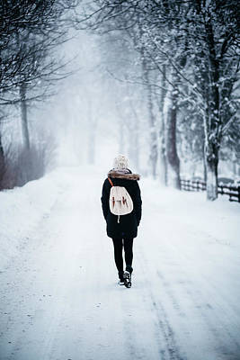 Woman On Path With Spooky Trees In Winter Poster by Aldona Pivoriene