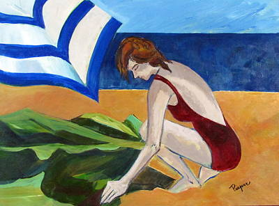 Poster featuring the painting Woman On The Beach by Betty Pieper