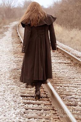 Woman On Tracks Poster by Jill Battaglia