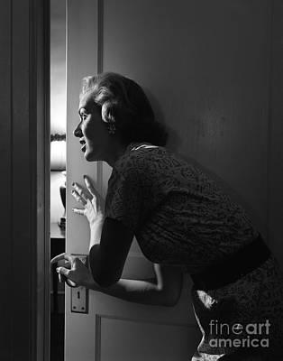 Woman Peeking Through Door, C.1950s Poster