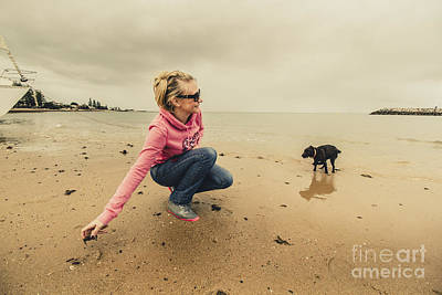 Woman Playing With Dog Poster by Jorgo Photography - Wall Art Gallery