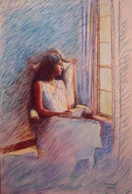 Woman Reading By Window Poster by Herschel Pollard
