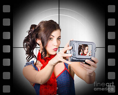 Woman Recording A Movie Using Video Camera Poster by Jorgo Photography - Wall Art Gallery