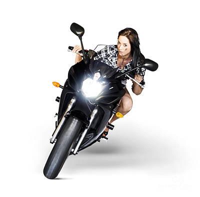 Woman Riding Motorbike At Speed Poster