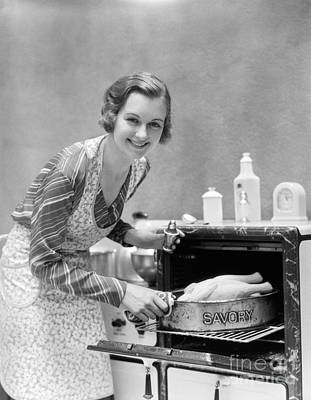 Woman Roasting Turkey, C.1930s Poster by H. Armstrong Roberts/ClassicStock