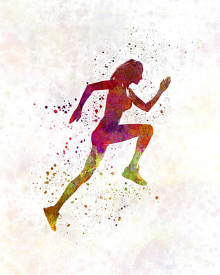 Woman Runner Running Jogger Jogging Silhouette 02 Poster by Pablo Romero