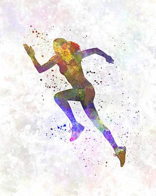 Woman Runner Running Jogger Jogging Silhouette 03 Poster