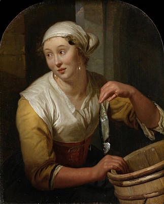 Woman Selling Herring Poster by Godfried Schalcken
