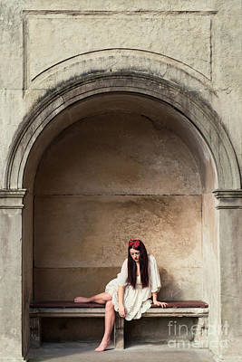 Woman Sitting In Alcove Poster by Amanda Elwell