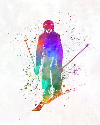 Woman Skier Skiing Jumping 01 In Watercolor Poster by Pablo Romero