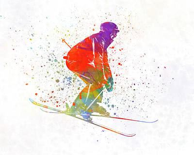 Woman Skier Skiing Jumping 02 In Watercolor Poster by Pablo Romero